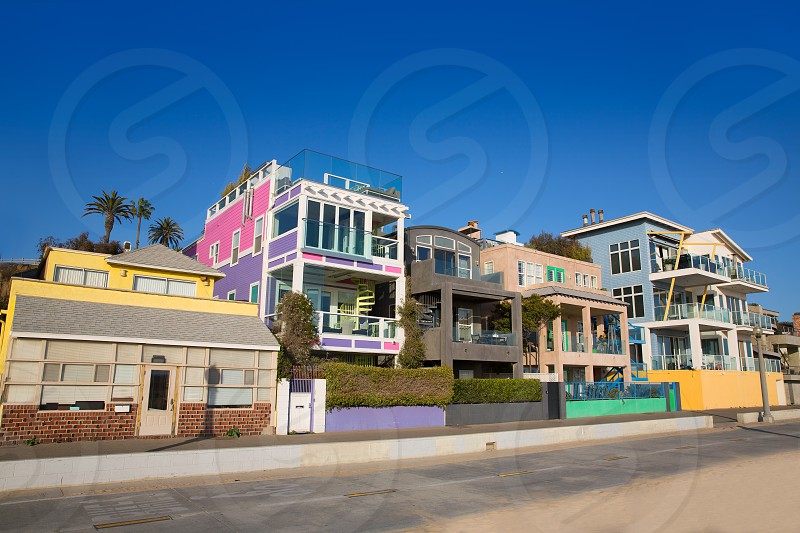Santa Monica California beach colorful houses in USA photo