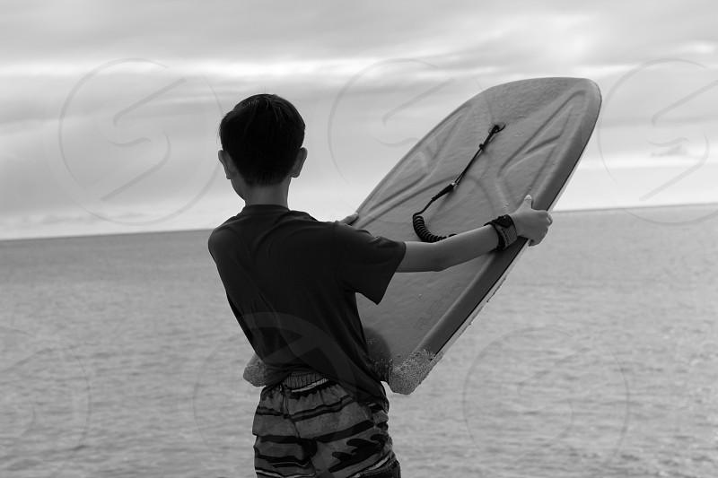 Bodyboarder at Waimea Bay Oahu. photo