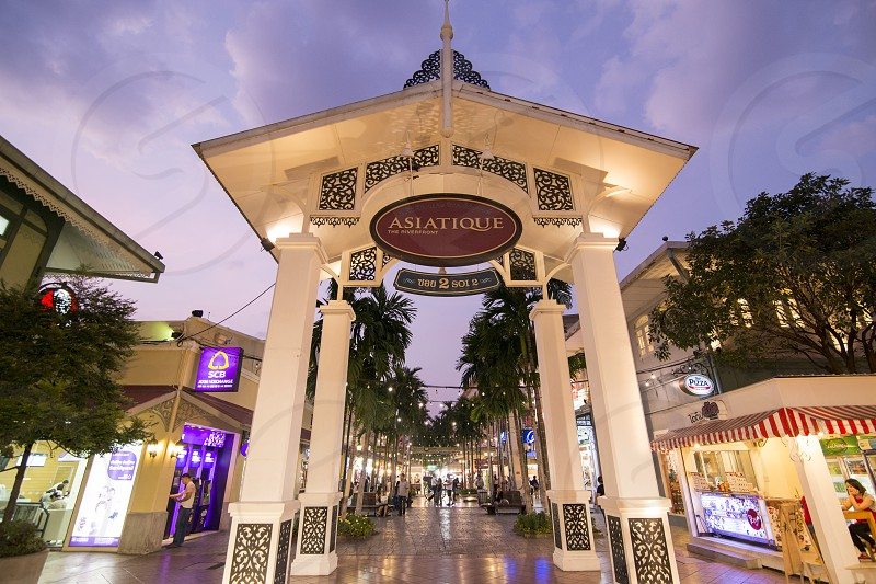 a Gate to the Asiatique Riverfront Nightmarket in the city of Bangkok in Thailand.  Thailand Bangkok November 2017 photo