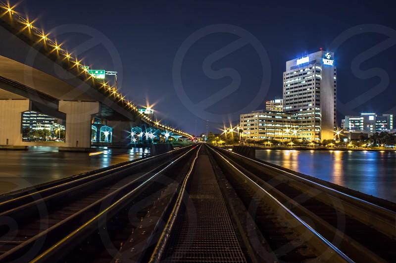 gray metal train tracks photo
