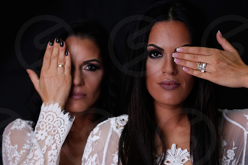 Women portraiture in studio sisters photoshoot. photo