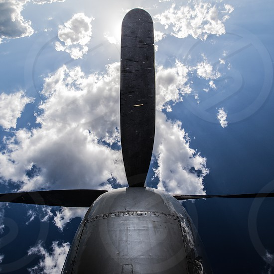 B-29 propeller blades in the sky photo