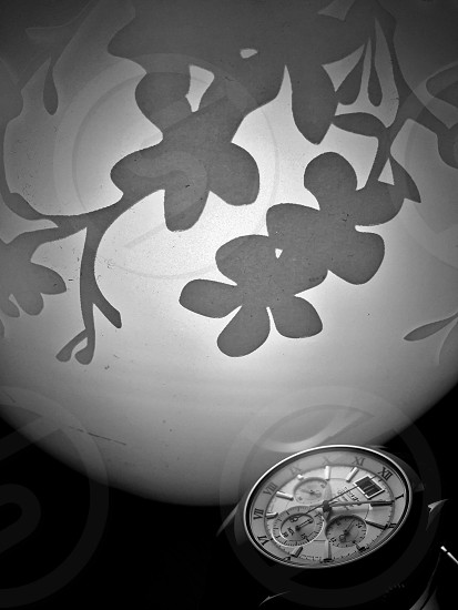 silver and white round chronograph watch photo