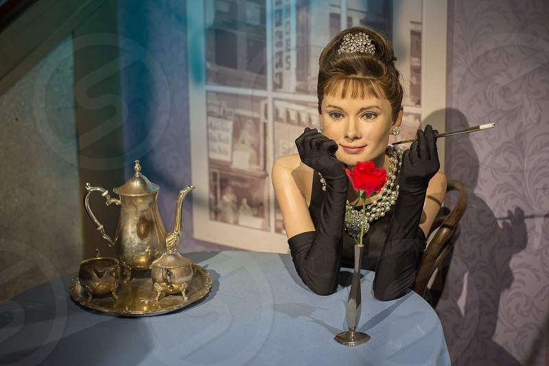 Wax figure of Audrey Hepburn at Madame Tussauds in London England. photo