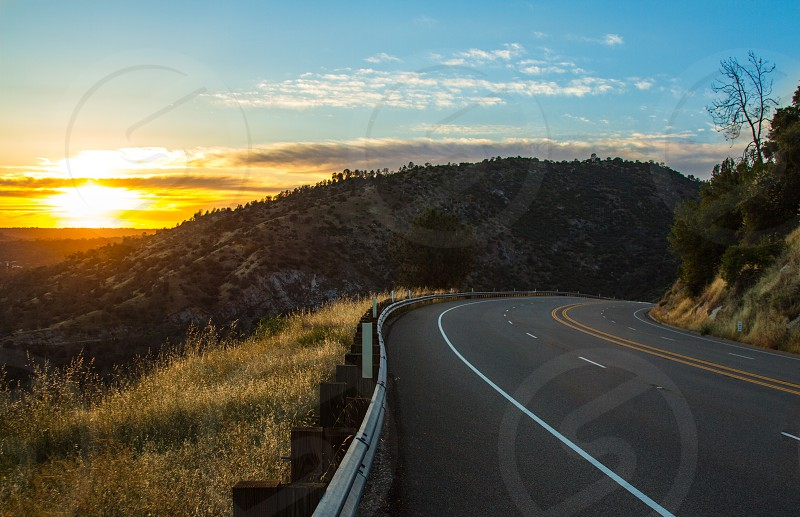 On the road Sunset California  photo