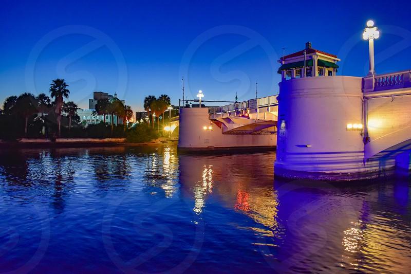 Tampa Bay Florida. January 19  2019 . Illuminated bridge in West Kennedy Boulevard on blue night background. photo
