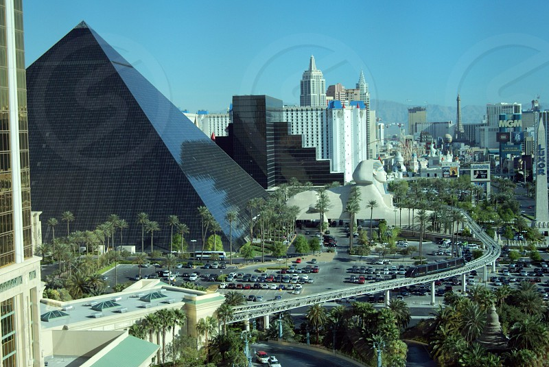 view of a gray pyramid building photo