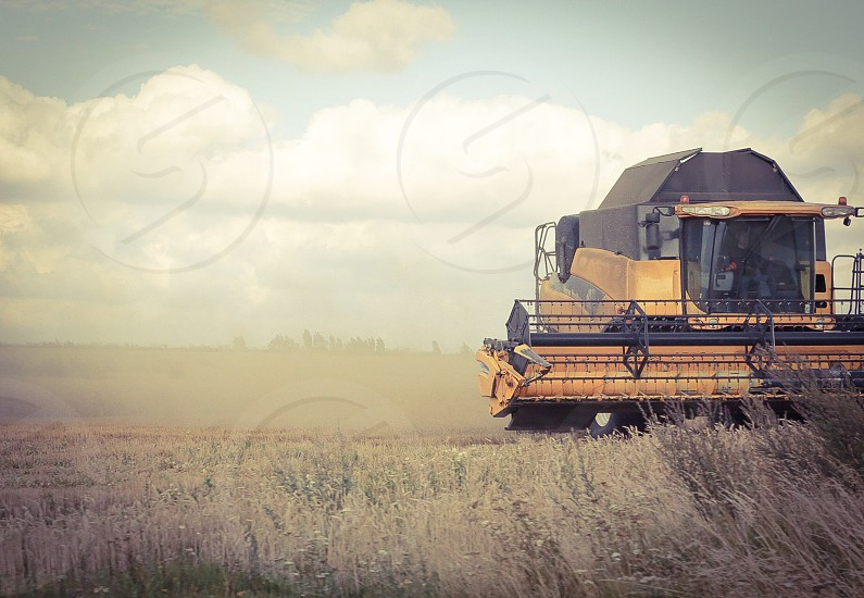 Farm farmingfarmer harvest field autumn engine background   wallpaper combinereap landscape nature work job photo