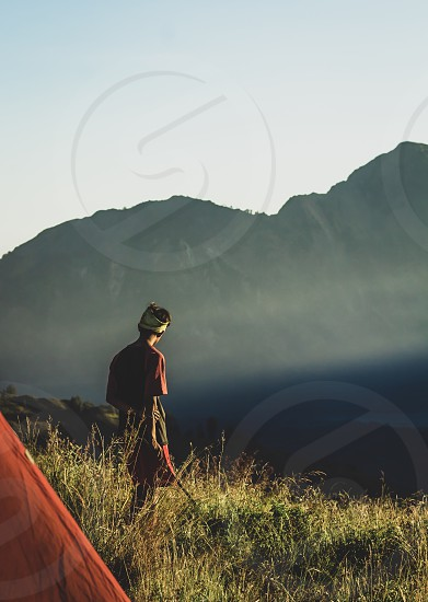 Mountain; trek; summit; walking; hiking; volcano; distance; depth; haze; sunrise; solo; travel; Indonesia; Lombok photo