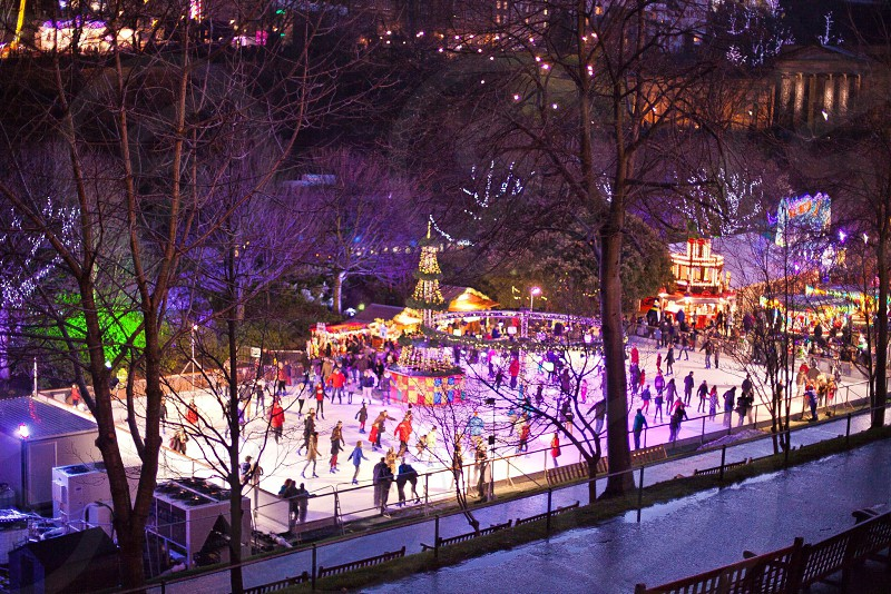 Christmas ice skating in Edinburgh Scotland.  photo