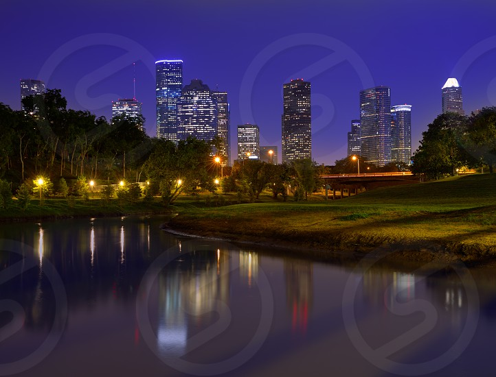 Houston sunset skyline from Memorial park at Texas US photo