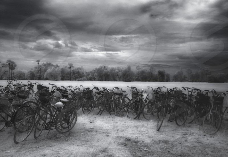Bicycles - Cambodia. Infrared photo