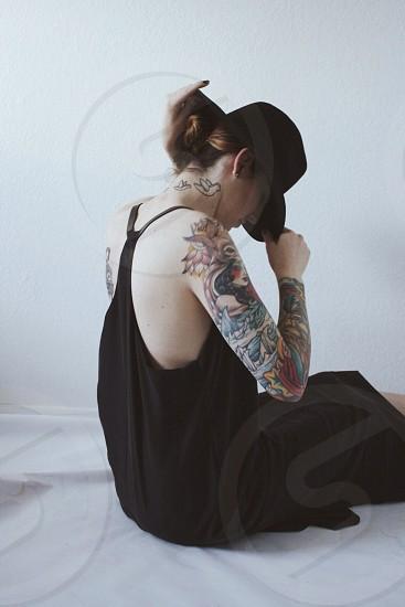 ladies black dress photo
