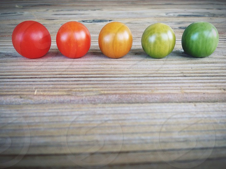 5 red orange and green tomatoes photo