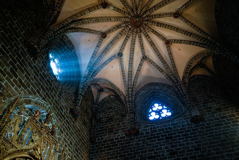VALENCIA SPAIN - FEBRUARY 27 :  Stained Glass window of the Holy Grail chapel in the Cathedral in Valencia Spain on February 27 2019 photo
