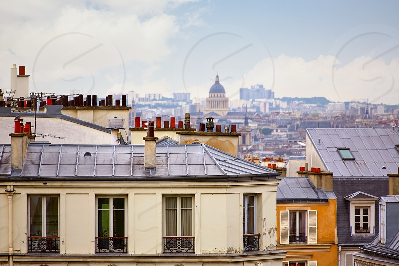 Paris skyline aerial from Montmartre in France photo