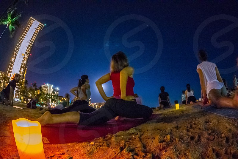 Waikiki beach yoga group Hawaii  photo