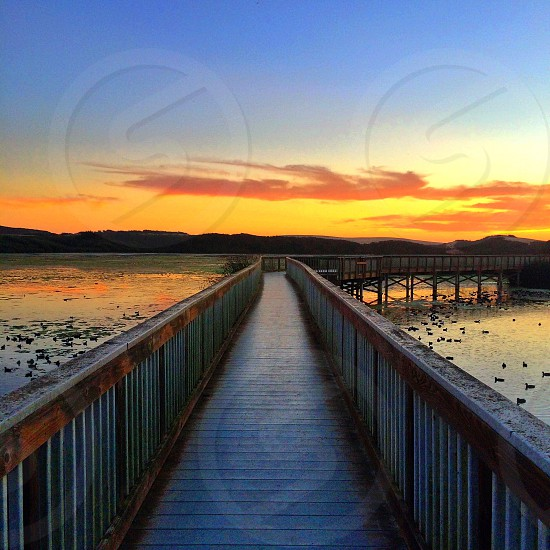 brown wooden bridge over calm water under orange cloud sky photo