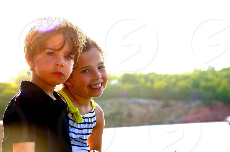 Beautiful Children at Sunset - Ibiza Spain photo