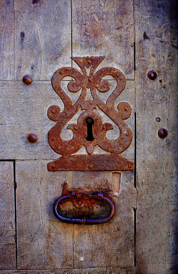 Aged door lock keyhole in Castilla Leon at Spain by Saint James Way photo