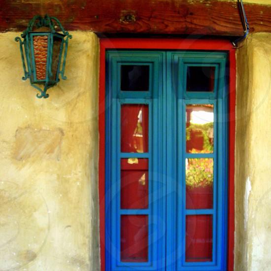 blue window red frame photo