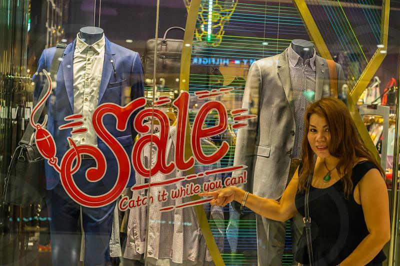 Big Sale and window shopping. photo