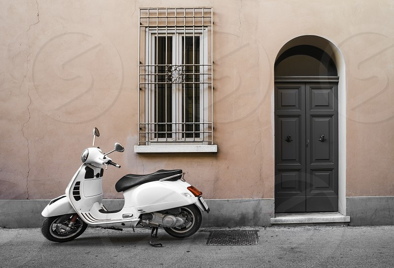 Typical white italian motorcycle photo