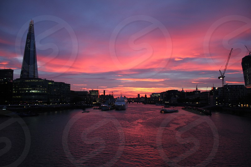 Sunset over the Thames photo