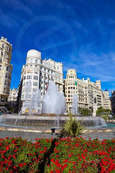Valencia city Ayuntamiento square Plaza fountain of Spain photo
