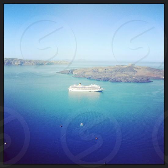 Santorini Greece. Cruise ship.  photo
