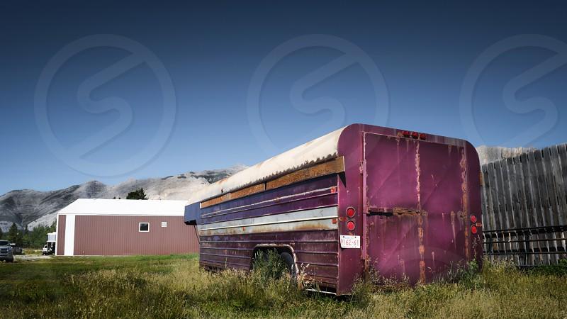 A rustic purple Horse Trailer located in a ranch in Alberta Canada photo