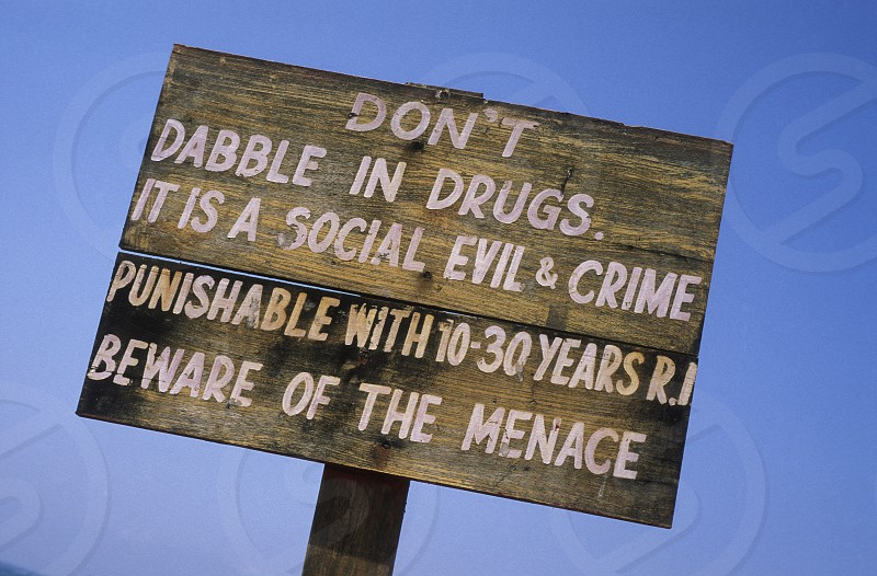 a warning to take drugs in the village of Anjuan in Goa in Indien. photo