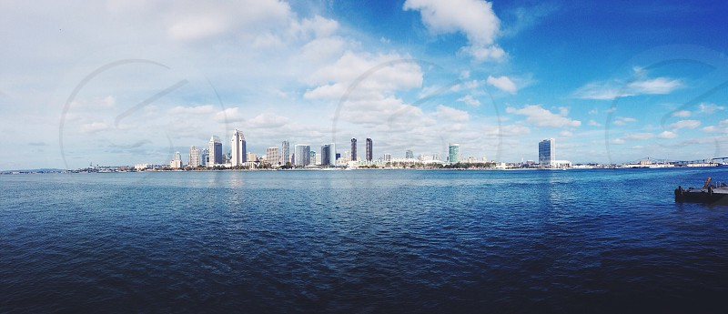 miami city from ocean photo