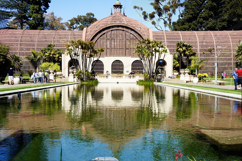 Balboa Park Botanical Garden building and reflection pool photo