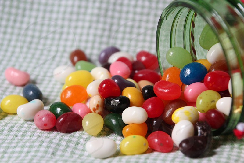 jelly beans colorful spill jar candy sweet photo