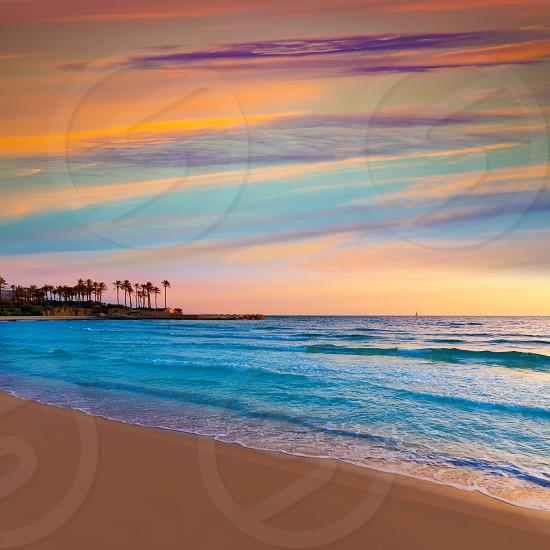 Javea Xabia El Arenal beach sunrise in Mediterranean Alicante Spain photo