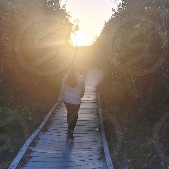 woman wearing blue dress shirt with black pants and black flats walking on pathway surrounded by green trees during sunrise photo