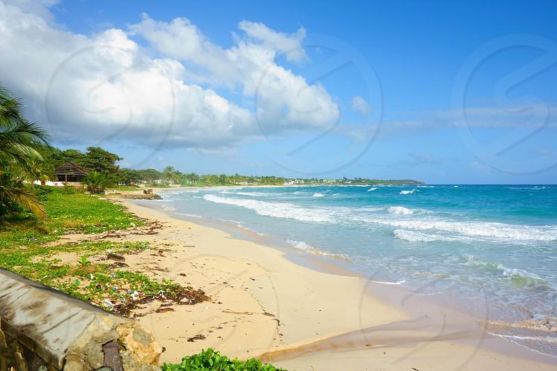 Long Bay beach located in Portland parish of Jamaica near city of Port Antonio.  photo