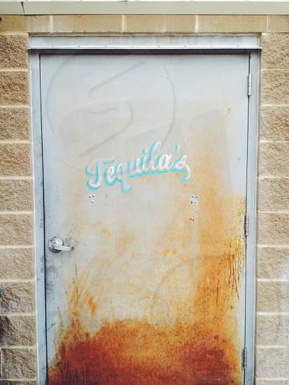 gray exterior metal door  photo