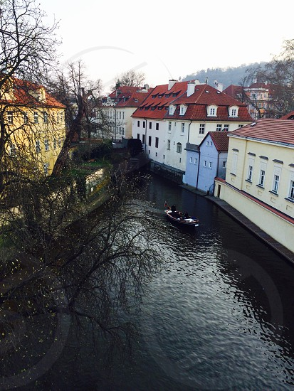 Prague boat bridge water Europe  photo
