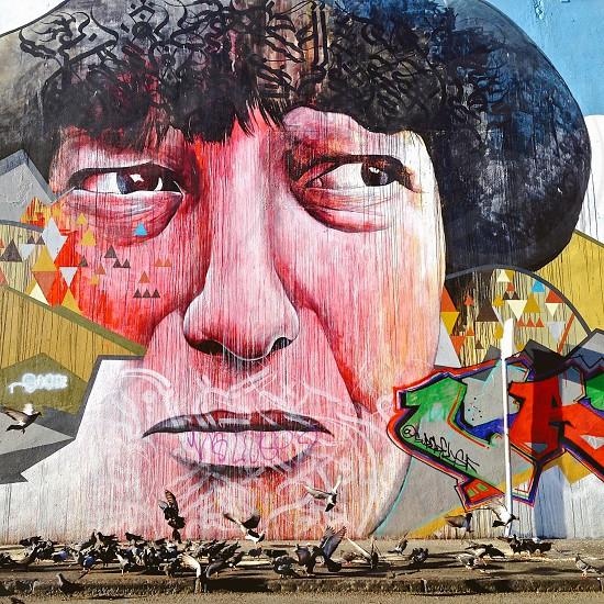 Street Art wall art mural face  photo