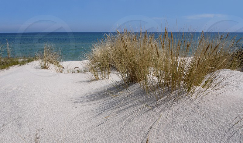 Hel city in Poland. Sand dunes on the Baltic Sea. White sandy beach photo