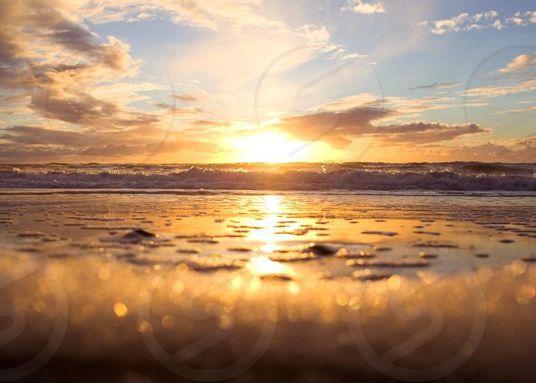 Golden Foam- Warming Southern California Sunset photo