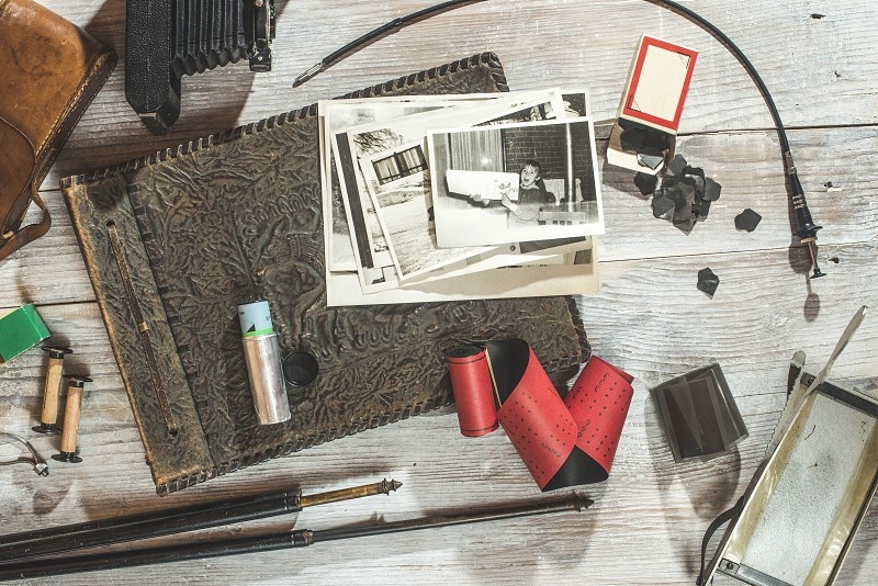 Vintage photo camera and photographic supplies and accessories photo