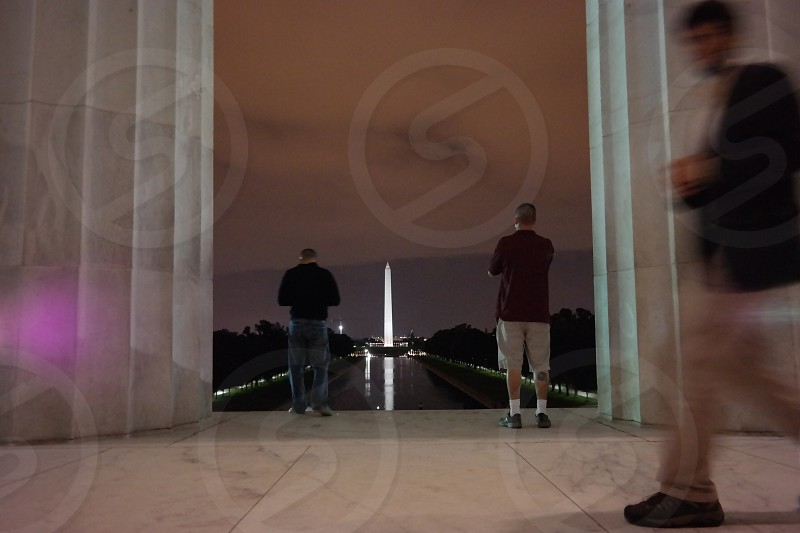 Washington memorial view from the Lincoln memorial  photo