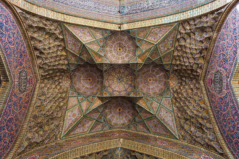 The beautiful artwork of Muqarnas in Nasir-ol-Molk Mosque. photo