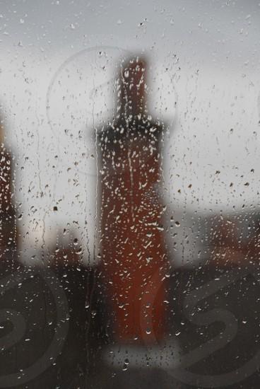 Rainy window skyline in Birmingham photo