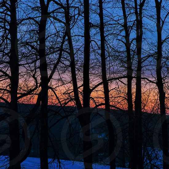 Winter twighlights hour after sunset. Saratov Russia. photo