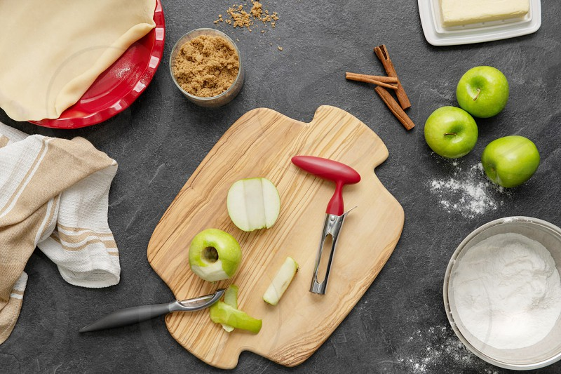 overhead lifestyle food photography story baking an apple pie photo