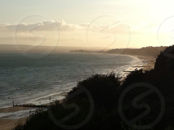 Bournemouth. Sea. Coastline. Sunset.  photo
